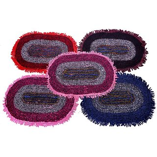 Pasricha Handlooms Multicolor Cotton Floor Mat - Set Of 5