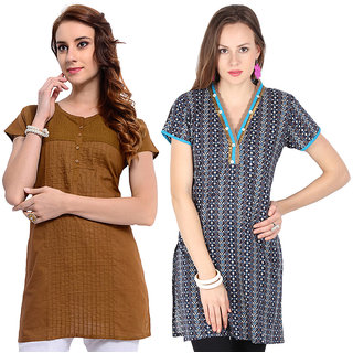Frame Womens Cotton Combo Kurtis(Pack Of Two)(10023BLUE10099BROWN)