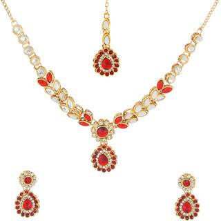 Kriaa Alloy Maroon  Ethnic Necklace Set - 1106205B