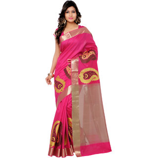 Swaron Pink and Cream Banarasi Viscose Cotton Silk Self Print Party Wear Saree 106SDM2104RN181