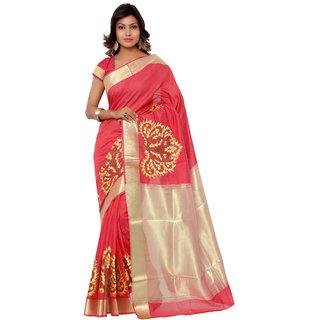 Swaron Peach and Yellow Banarasi Viscose Cotton Silk Self Print Party Wear Saree 106SDM2105RD183