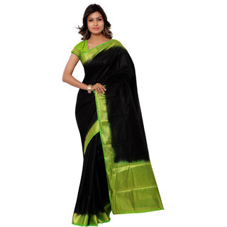 Swaron Black and Light Green Kanjivaram Raw Silk and Chanderi Silk Self Print  Party Wear Saree 106SND1001BL169