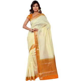 Swaron Cream and Orange Kanjivaram Raw Silk and Chanderi Silk Self Print  Party Wear Saree 106SND1001CM170