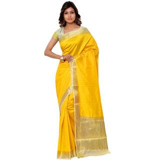 Swaron Yellow and Cream Kanjivaram Raw Silk and Chanderi Silk Self Print  Party Wear Saree 106SND1001MD171