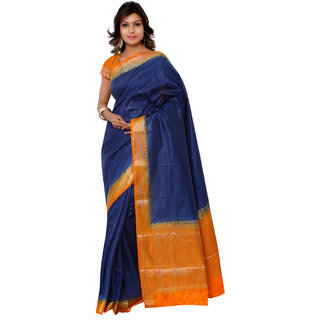 Swaron Blue and Orange Kanjivaram Raw Silk and Chanderi Silk Self Print  Party Wear Saree 106SND1001NB172