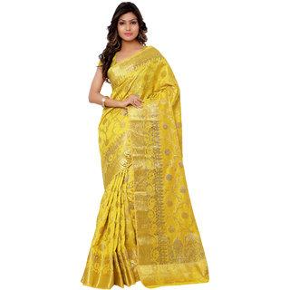 Swaron Yellow Kanjivaram Raw Silk and Chanderi Silk Self Print  Party Wear Saree 106SPT1001GD174
