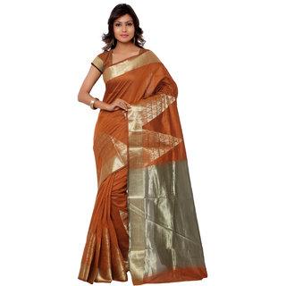 Swaron Brown Banarasi Viscose Cotton Silk Self Print Party Wear Saree 106SDM3103OR201