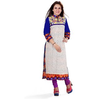Shurti Creations Womens Cotton Long Embroidered Printed Kurti
