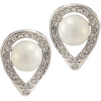 Urthn Alloy White Contemporary Stud Earrings - 1307115