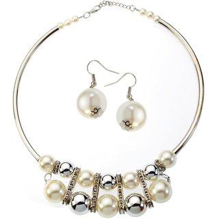 Urthn Alloy Silver Contemporary Necklace Set -1106015