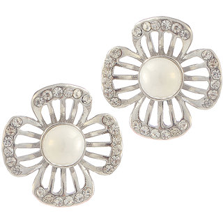 Urthn Alloy White Floral Stud Earrings - 1307157