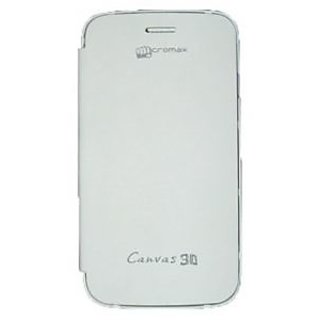 Casotec Premium Leather Flip Case Cover For Micromax Superfone Canvas 3D A115 - White gz267004