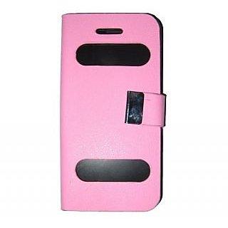 Casotec Premium Caller Id Flip Case Cover For Apple Iphone 5 / 5S - Pink gz267010