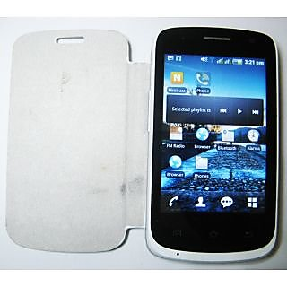Casotec Premium Leather Flip Case Cover For Karbonn A1 Plus - White gz213256