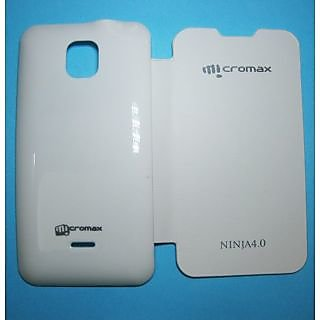 Casotec Premium Leather Flip Case Cover For Micromax Superfone Canvas 2 A87 - White gz213260