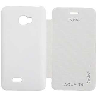 Casotec Premium Flip Case Cover For Intex Aqua T4 - White gz267269