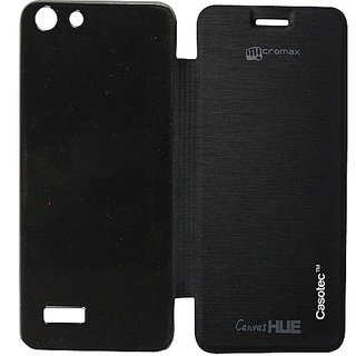 Casotec Premium Flip Case Cover For Micromax Canvas Hue Aq5000 - Black gz267277