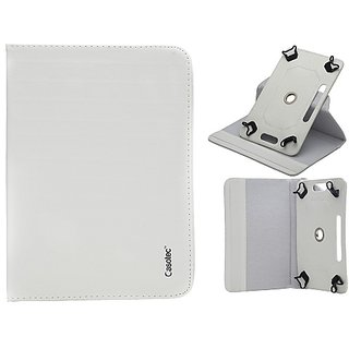 Casotec 360 Degree Rotating Pu Leather Smart Case Cover With Stand - Univesal 7 Inches Tablets - White gz267578