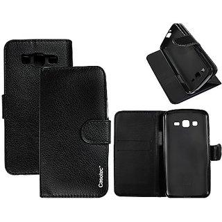 Casotec Premium Pu Flip Case Cover With Snap Button Closure For Samsung Galaxy Grand 2 G7102 / G7105 - Black gz267601