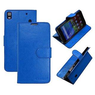 Casotec Premium Pu Flip Case Cover With Snap Button Closure For Lenovo A7000 - Blue gz267814