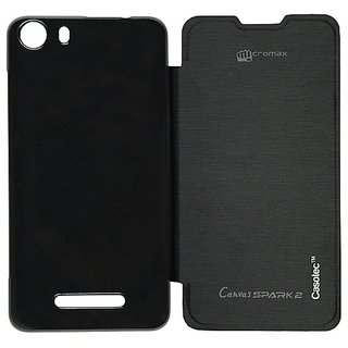 Casotec Premium Flip Case Cover For Micromax Canvas Spark 2 Q334 - Black gz267873
