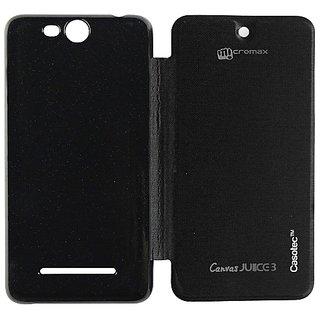 Casotec Premium Flip Case Cover For Micromax Canvas Juice 3 Q392 - Black gz267881