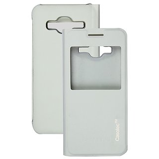 Casotec Premium Caller-Id Flip Case Cover For Samsung Galaxy J3 - White gz267903