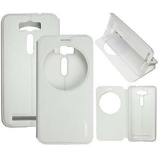 Casotec Premium Kickstand Caller-Id Flip Case Cover For Asus Zenfone 2 Laser Ze500Kl - White gz267907