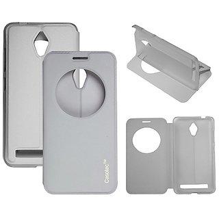 Casotec Premium Kickstand Caller-Id Flip Case Cover For Asus Zenfone 5 A500Cg - White gz267911