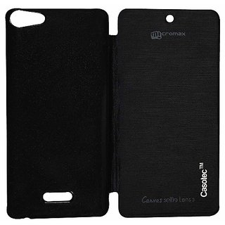 Casotec Premium Flip Case Cover For Micromax Canvas Selfie Lens Q345 - Black gz267917