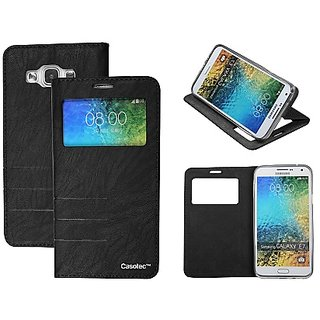 Casotec Premium Caller-Id Flip Case Cover With Invisible Magnet Closure For Samsung Galaxy E7 - Black gz267920
