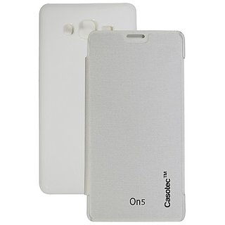 Casotec Premium Flip Case Cover For Samsung Galaxy On5 - White gz267923