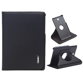 Casotec 360 Degree Rotating Pu Leather Smart Case Cover With Stand For Samsung Galaxy Tab 3 7.0 - Black gz267951