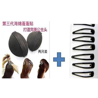Hair Puff with Baby Hair Pin Black