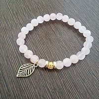 Reiki Charged Rose Quartz With Golden Leaf Charm