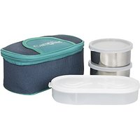 Elegant Matee Finish 2 Steel Container With 1 Plastic Chapati Tray Lunchbox Green (650 Ml ) Stainless Steel Food Storage