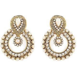 The Pari Gold Plated White Alloy Chandbali For Women