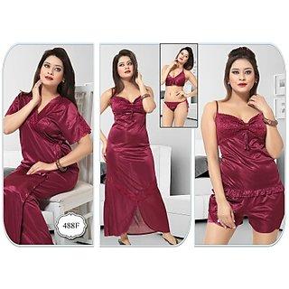 30b5d8a09c Buy Womens Night Dress 6pc Bra Panty Top Shorts Nighty Overcoat Daily 488F  Bedroom Fun Sleep Robe Cherry Red Lounge Online   ₹2190 from ShopClues