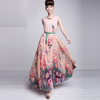 chiffon skirt twinset chiffon fashion Casual Dress full Maxi