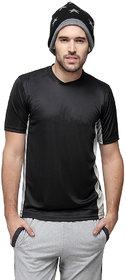Campus Sutra Half Sleeve Black T-Shirt For Men