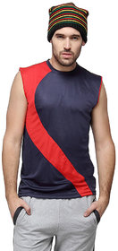 Campus Sutra Sleeveless Blue T-Shirt For Men