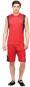 Campus Sutra Polyster RedRed Tracksuit for Men