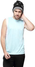 Campus Sutra Sleeveless Light Green T-Shirt For Men