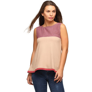 Campus Sutra Brown Sleeveless Top For Women