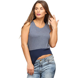 Campus Sutra Blue Sleeveless Crop top For Women