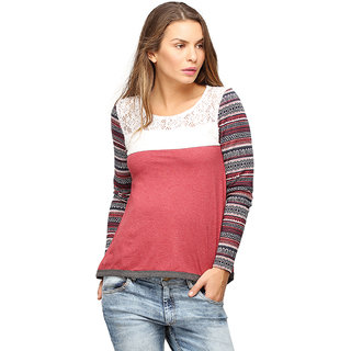 Campus Sutra Orange Full Sleeve Top For Women