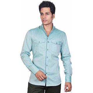 Dazzio Men's Green Mandrain Collar Smart Casual Shirt