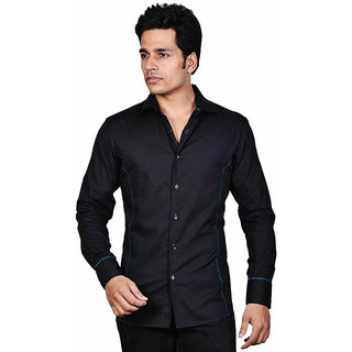 Dazzio Men's Black Party Wear Shirt