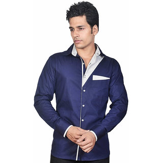 Dazzio Men's Stylish Blue Lounge Wear Shirt