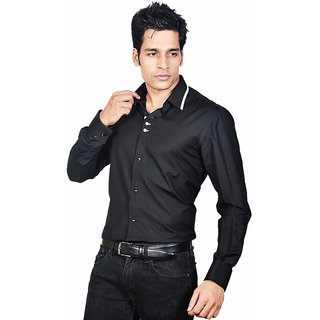 Dazzio Men's Black Lounge Wear Shirt - Option 4